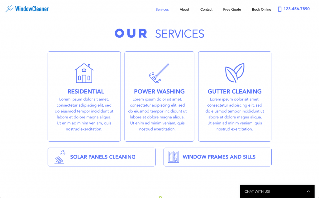 Window Cleaning website services section | RocketThruster