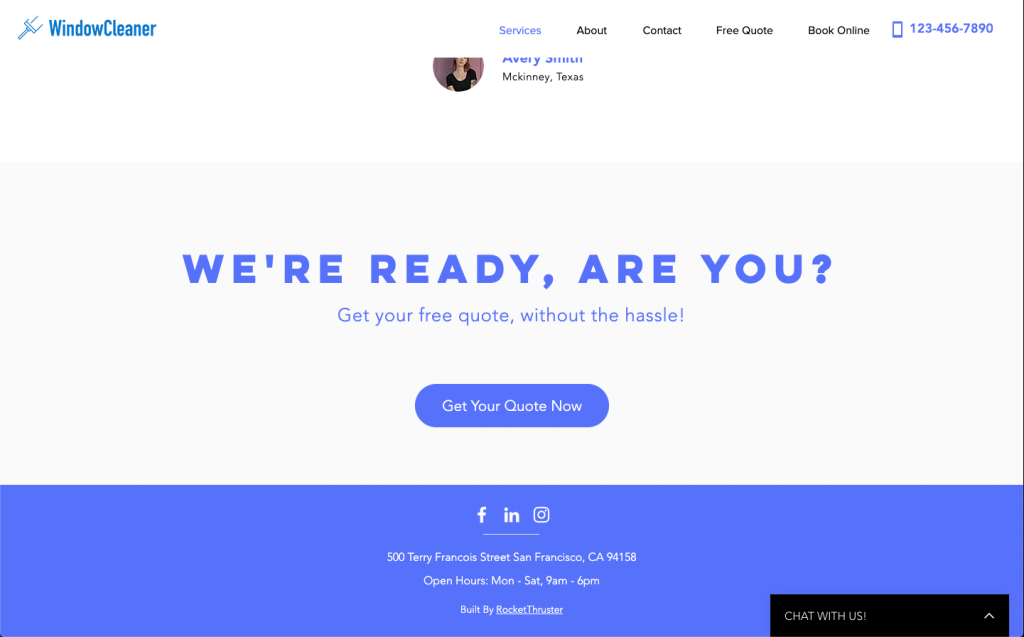 Window Cleaning website call to action | RocketThruster
