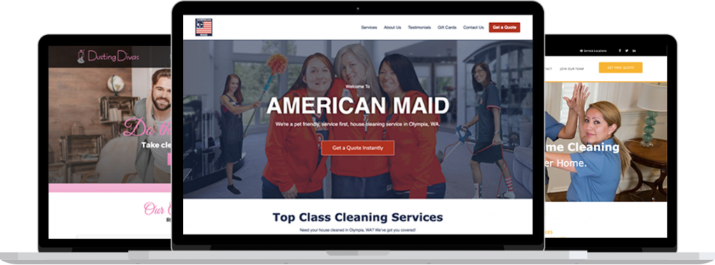 House cleaning website designs we've built for clients.